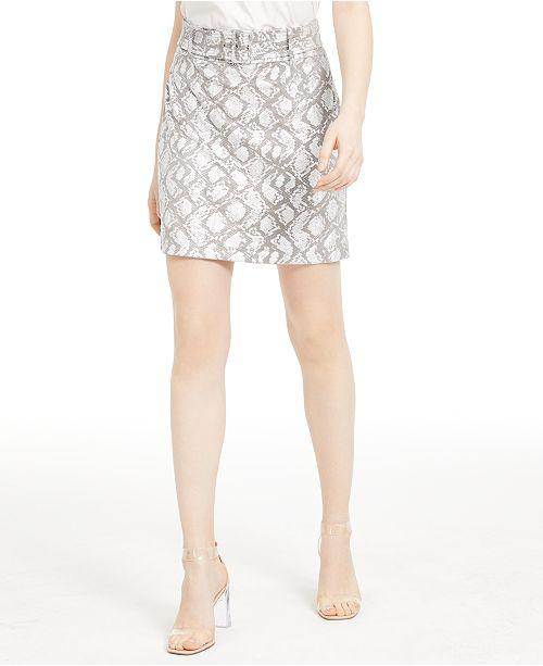 INC International Concepts INC Foil Snake-Embossed Mini Skirt, Created For Macy's