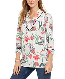 Knit 3/4-Sleeve Paisley Tunic Top, Created for Macy's
