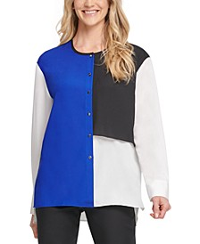 Colorblocked Button-Up Top