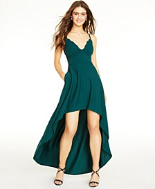 Juniors' Scalloped-Neck High-Low Dress