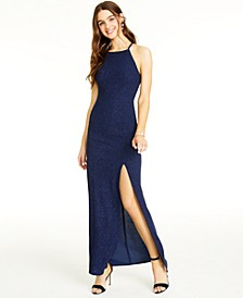 Juniors' Cutout Glitter Lace-Back Gown