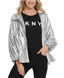 DKNY Metallic Hooded Anorak Jacket