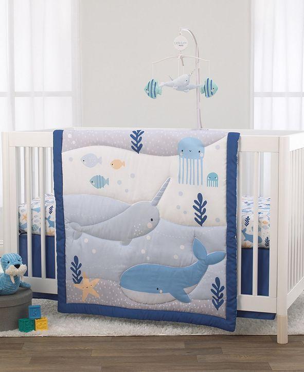 NoJo Underwater Adventure Narwhals 3-Piece Crib Bedding Set
