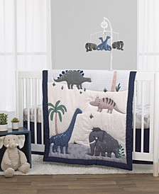 Nojo Woolly Mammoth and Dinosaurs 3-Piece Crib Bedding Set