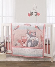 Nojo Desert Flower Fox and Feathers 3-Piece Crib Bedding Set