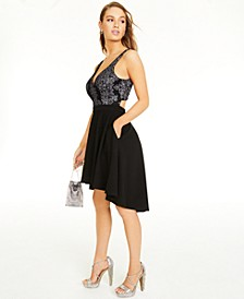 Juniors' Sparkle-Embellished High-Low Dress