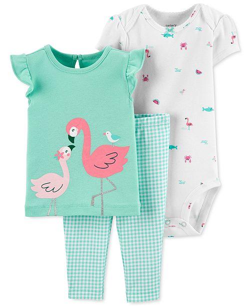 Carter's Baby Girls 3-Pc. Cotton Flamingo T-Shirt, Bodysuit & Gingham Pants Set