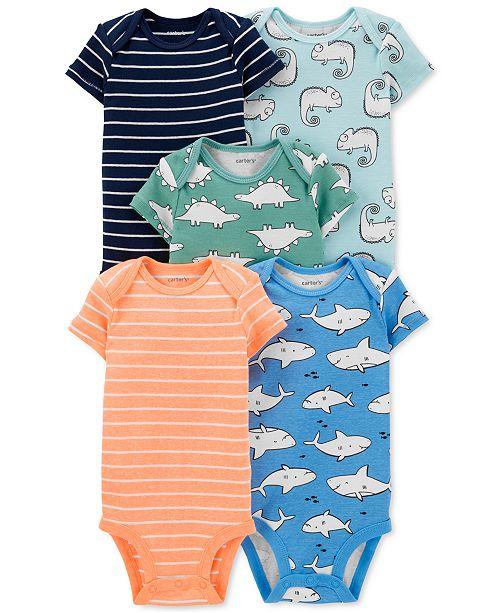 Carter's Baby Boys 5-Pk. Striped & Printed Bodysuits