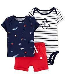 Baby Boys 3-Pc. Cotton Printed T-Shirt, Anchor Bodysuit & Shorts Set