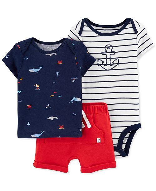 Carter's Baby Boys 3-Pc. Cotton Printed T-Shirt, Anchor Bodysuit & Shorts Set