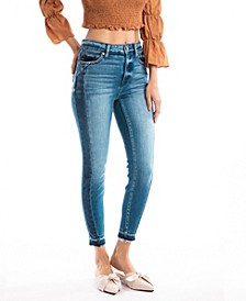 High Rise Contrast Side Seam Ankle Skinny