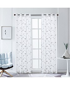"Clarita Embroidery Sheer Curtain, 84"" L x 54"" W"