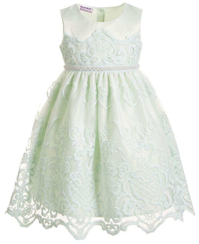 Blueberi Boulevard - Little Girls Embroidered Dress