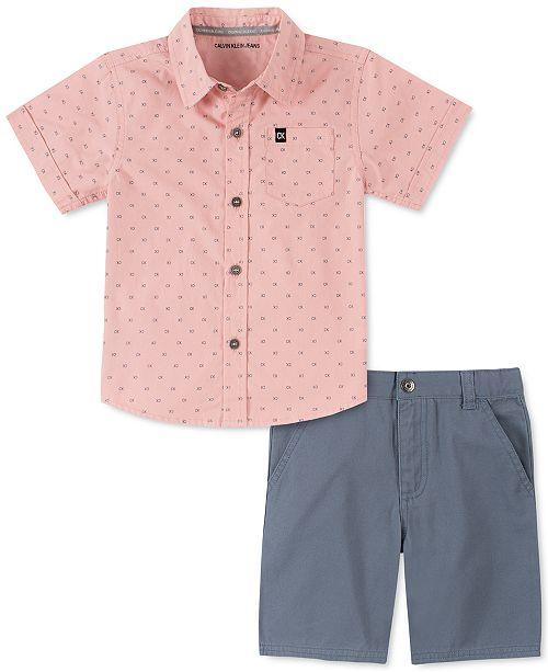 Calvin Klein Toddler Boys 2-Pc. Logo-Print Poplin Shirt & Twill Shorts Set
