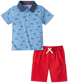 Little Boys 2-Pc. Blue Stripe Truck-Print Polo Shirt & Red Twill Shorts Set