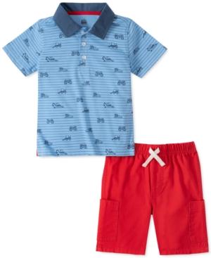 Kids Headquarters Little Boys 2-Pc. Blue Stripe Truck-Print Polo Shirt & Red Twill Shorts Set