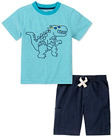 Little Boys 2-Pc. Green Dino Stripe T-Shirt & Navy Blue Twill Shorts Set