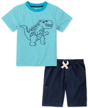 Kids Headquarters Little Boys 2-Pc. Green Dino Stripe T-Shirt & Navy Blue Twill Shorts Set