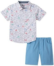 Toddler Boys 2-Pc. White Car-Print Poplin Shirt & Blue Twill Shorts Set