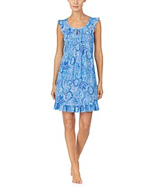 Paisley-Print Ruffle-Trim Nightgown