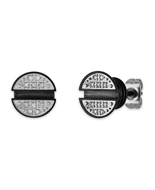 Macy's Men's 1/10 Carat Diamond Earrings in Stainless Steel