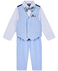 Baby Boys 4-Pc. Printed Shirt, Vest, Pants & Plaid Bow Tie Set