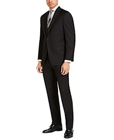Men's Classic-Fit Airsoft Stretch Black Solid Suit Separates