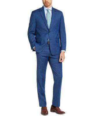 Men's Classic-Fit Airsoft Stretch Blue Tic Suit Pants