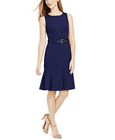 Sleeveless Belted Flare-Hem Sheath Dress