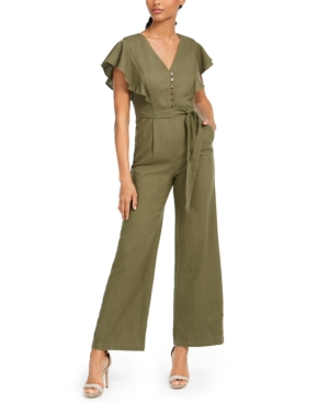 Soft ruffles bring sculptural flow to the all-in-one stylish silhouette of this straight-leg Calvin Klein jumpsuit.