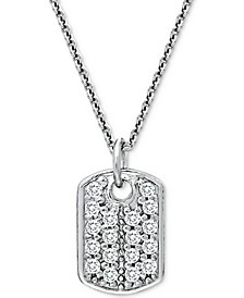 "Cubic Zirconia Dog Tag Pendant Necklace in Sterling Silver, 18"" + 2"" extender"