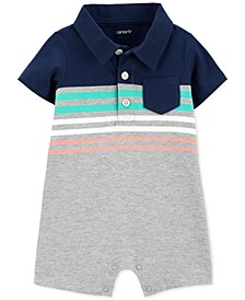 Baby Boys Striped Polo-Collar Cotton Romper