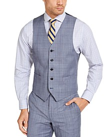 Men's Classic-Fit UltraFlex Stretch Light Blue Plaid Suit Vest