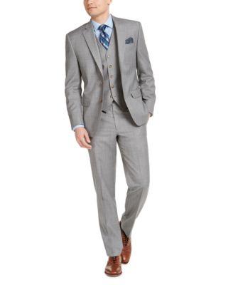 Men's Classic-Fit UltraFlex Stretch Light Gray Sharkskin Suit Vest