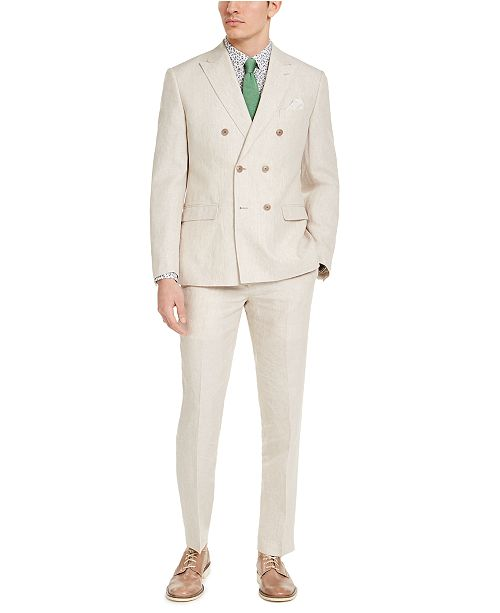 Bar III Men's Slim-Fit Tan Linen Suit Separates, Created for Macy's