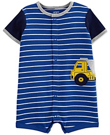 Baby Boys Striped Construction Truck Cotton Romper