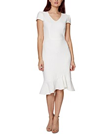 V-Neck Flounce A-Line Dress