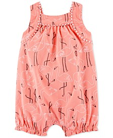 Baby Girls Flamingo-Print Cotton Romper