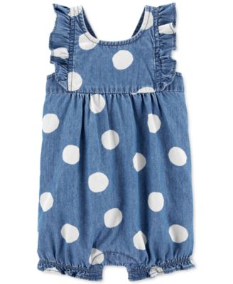 Baby Girls Dot-Print Chambray Cotton Romper