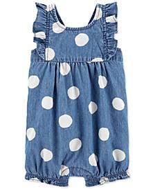 Baby Girls Dot-Print Chambray Cotton Romper