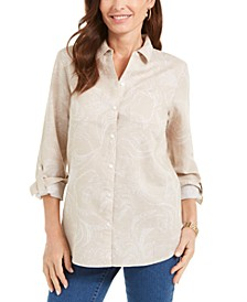 Artful Paisleys Printed Linen-Blend Shirt, Created for Macy's