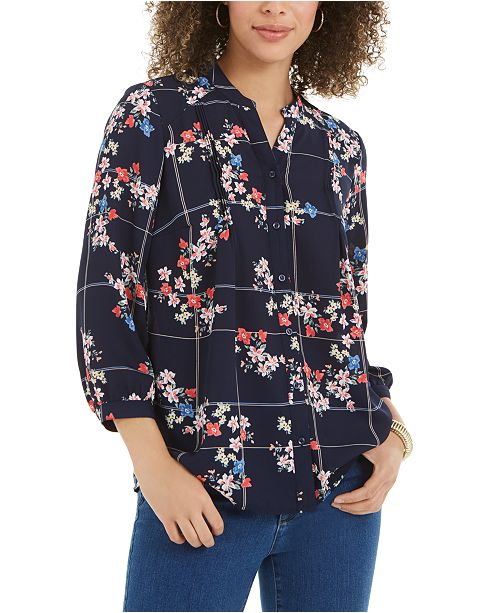 Charter Club Sophia Printed Pintuck Blouse, Created For Macy's