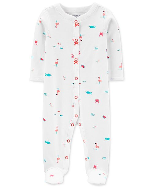 Carter's Baby Girls Ocean-Print Cotton Footed Coverall