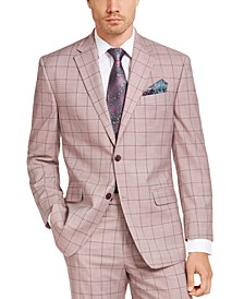 Men's Classic-Fit Light Red Windowpane Suit Jacket