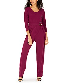 Juniors' Belted Jumpsuit