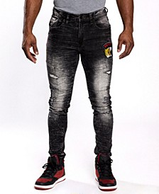 Men's Leopard Applique Patch Denim Pants