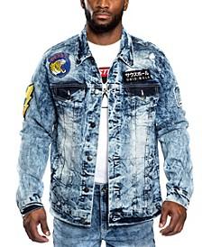 Men's Leopard Applique Patch Denim Jacket