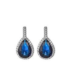 Silver-Tone Sapphire Accent Tear Drop Earrings