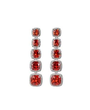 A & M Silver-Tone Ruby Accent Princess Cut Earrings
