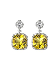 Silver-Tone Light Yellow Square Earrings